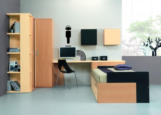 Composition avec un couchage, un grand tiroir, bureau, étagères et ARMOIRE D'ANGLE...