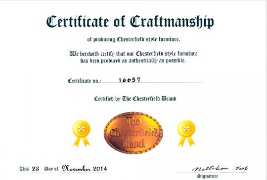 Exemple d'un certificat laissé à un client pour son canapé.