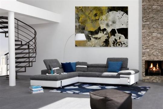 Canapé d'angle avec têtière relevable Choix de revêtement coloris taille sens de l'angle...