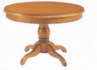 Table Ronde LOUIS PHILIPPE  Piètement chêne massif, ceinture et plateau placage de chêne véritable.