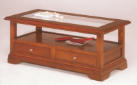 Table basse plateau vitré