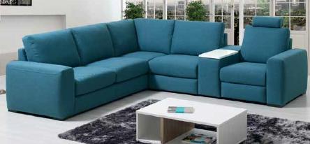 Canapé d'angle MARKUS avec fauteuil relax rattaché à l'angle par un accoudoir commun. Option tablette relevable dans l'accoudoir (choix de couleur pour la tablette aussi).