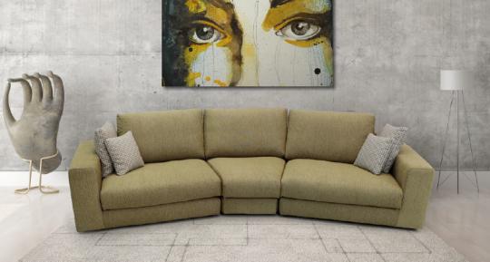 Canapé Elantra . Un angle différent. Modulable avec un grand choix de coloris et textures.