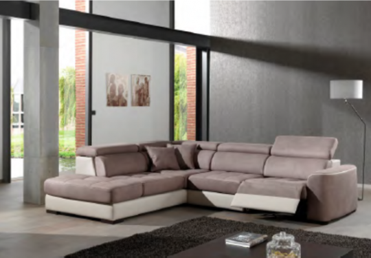 Canapé angle Lotus. Option relax électrique. Divers coloris au choix et bi ton possible.