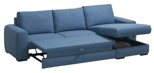 Canapé chaise longue MARKUS. Avec option Chaises Longue pour tous et option coffre. Grand choix de couleur et de revêtement.