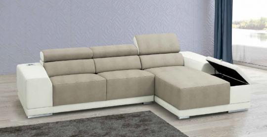 Canapé Chaise Longue VINCENT. Têtière inclinable. Option coffre dans l'accoudoir de chaise longue. Option USB / SONO
